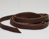 7-10 mm  Flat cord ,Dark Brown   Genuine Leather Strap 1 Yard