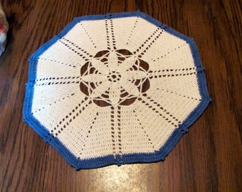 """Crochet Doily with Blue Edge / 11""""  White and Blue Doily"""