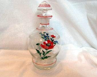 Czech Art Glass Decanter with Stopper / Czech Hand Painted Bottle with Stopper