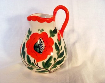 Erphila Art Pottery Vase from Czechoslovakia / Hand Painted Floral Czech Ceramic Pitcher Vase / Vivid Colors 1930s Flower Vase Pitcher