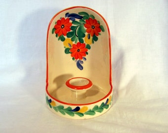 Pottery Candle Holder from Czechoslovakia / Hand Painted Floral Czech Ceramic Candle Holder / 1930's Candle Holder
