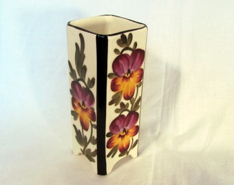 Czech Pottery Vase with Hand Painted Pansies