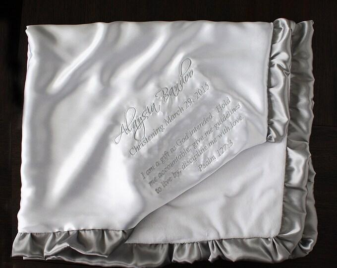 Baby Blanket, Embroidered blanket, Personalized baptism blanket, blanket with name, blessing blanket, christening blanket, white blanket