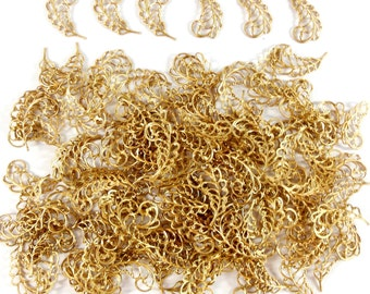Brass Leaves, Filigree Leaves, Curved Leaves, Beading Supplies,  Jewelry Supplies, Antique Brass, Raw Brass, 26mm, Bsue,  Item08223