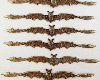 Brass Stampings, Bat Stampings, Brass Bats, Brass Ox, Antique Brass, Made in USA, Nickel Free, B'sue Boutiques, 4.50 Inches,  Item05057