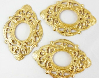 Victorian Mount, Backless Bezel, Jewelry Supplies, Jewelry Making, Raw Brass, Antique Brass, US Made, 52 x 77mm, B'sue Boutiques,Item06425