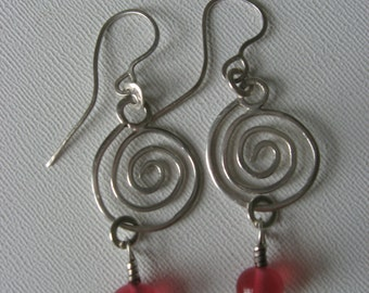 Sterling and Chinese Glass Bead Handmade Artisan Dangle Earrings