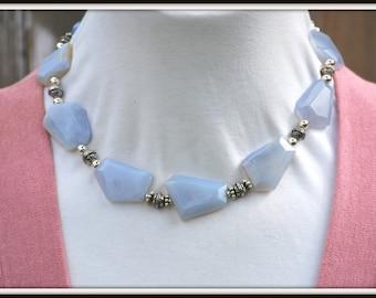 Blue Chalcedony Necklace, Chunky Chalcedony Necklace, Blue Stone Necklace, Chalcedony and Sterling Silver Necklace, Irregular Stone Necklace
