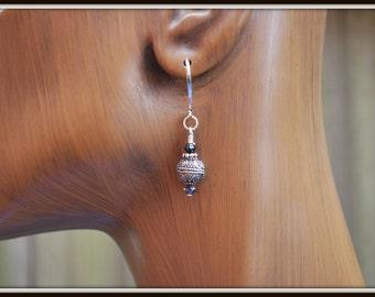 Bali Sterling Silver Earrings, Bali Silver Earrings, Bali Bead Dangles, Sterling Silver Earrings, Silver and Crystal Earring, Sterling Drops