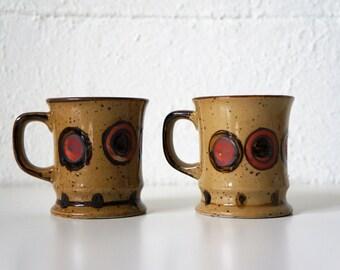 Vintage Mug, Stoneware, Pottery, Set of 2