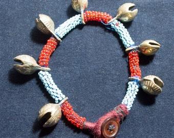 Vintage Kuchi Beaded Anklet Ankle Bracelet Brass Bells Hippie Boho Gypsy Tribal Uber Kuchi®