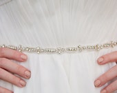 Skinny Wedding Sash, Rhinestone, Thin Diamond Bridal Sash on White Ivory Ribbon - Rhinestone Trio - Style SA625