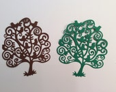 Handmade, 4 Trees with Birds, Brown, Green, Die Cuts, Paper Cuts, Embellishments, Handmade, Holiday, Cards, Scrapbook, Christmas, Sizzix