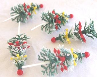 Christmas Tree Picks-----12ct--cupcake picks-christmas parties-holidays-cupcakes