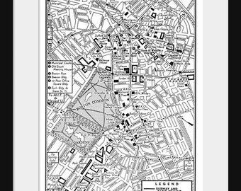 Map of Downtown Boston -  Vintage Map - Print Poster - Black and White