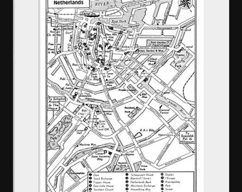 Amsterdam Map -  Vintage Map of Downtown Amsterdam Netherlands -Digital Download - 2 Sizes