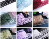 1 + 1/2 Inch wide Crochet Ribbon -select color - selling by the yard