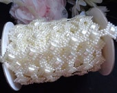 ivory or white imitation pearl flatback beads trimming price for 1 yard