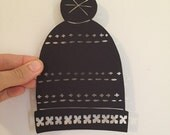 Winter Hat Paper Cutting - original hand-cut - Holiday
