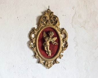 Gold Wall Frame // Valentine's Cherub Angel and Velour Decor