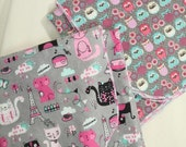 SET of 2 - GIRLs- FLANNEL  BLANKETs - Pinks and Grays - Kittys and Owls