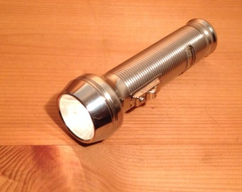 Metal Flashlight Mid-Century Tools Wes Anderson Mad Men Don Draper 1960's 60s Vintage Old Flash Light w/ Labels Works