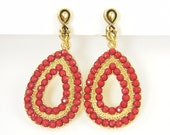 Red Gold Clip Earrings - Red Bead Teardrop Beaded Dangle Clip on Earrings