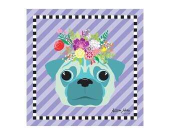 Pug Pet Portrait Art Print Illustration Wrapped Canvas 12x12x.75