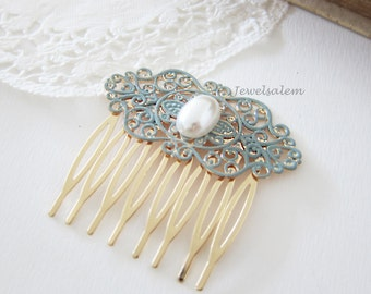 Bridal Hair Comb Pearl Comb for Wedding Turquoise Hair Comb Teal Wedding Hair Slide Romantic Chintz Victorian Modern Comb for Bride