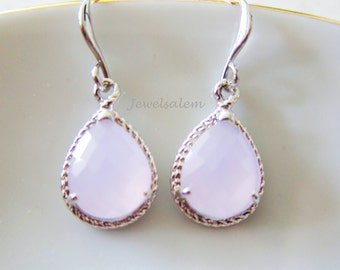 Pink Earrings Silver Earrings Drop Pear Shape Teardrop Dangle Earrings Modern Elegant Romantic Wedding Jewelry Bridal Earrings