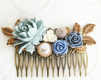 Hair Comb Blue Wedding Bridal Hair Jewellery Victorian Rustic Garden Hair Adornment for Bride Bridesmaids Gift