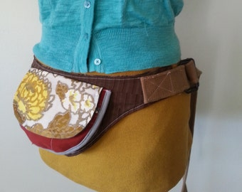 Brown Yellow and Orange vintage fabric utility belt fanny pack