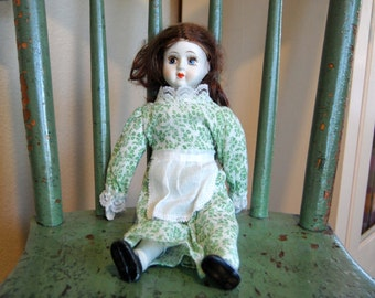 "Vintage 12"" Porcelain Doll Vintage Porcelain Collectible Doll from The Eclectic Interior"