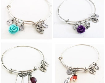 Stainless Steel Bangle Charm Bracelet