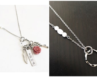"Choose Your Chain- DAINTY charm necklace | white african opal on chain | 30"" stainless steel chain"