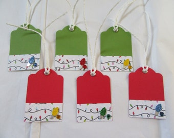 Set of 6 Handmade Christmas / Holiday Gift Tags - Journaling Tags