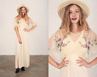 Vintage 70s Chiffon Dress Cream Floral Embroidered Two Piece Dress