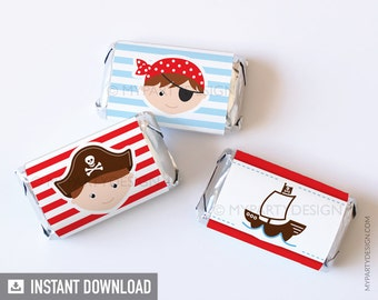 Pirate Party - Mini Chocolate Wrappers - Little Pirate - Nautical Party - INSTANT DOWNLOAD - Printable PDF
