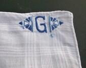 Monogrammed Hankie, Mens Linen, Hankie, Mens Handkerchief, Letter G, Groomsmen Gifts, Embroidered Hankie, Mens, Mens Hankerchief