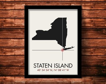 Staten Island Map Print | Staten Island Map Art | Staten Island Print | Staten Island Gift | New York Map | 11 x 14 Print