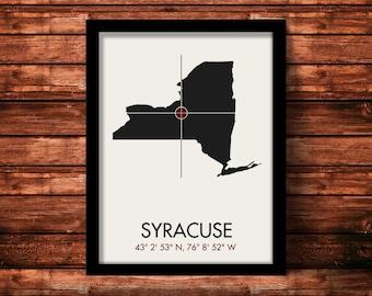 Syracuse Map Print | Syracuse Map Art | Syracuse Print | Syracuse Gift | New York Map | 11 x 14 Print