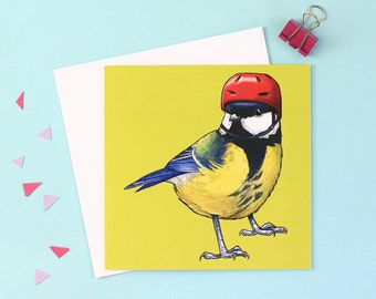 Great Tit in a Cycling Helmet: Square British Garden Birds in Hats Lime Green Hipster Greetings Card