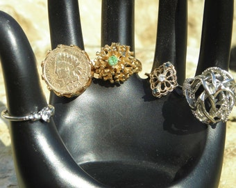 5 Gold-plated Rings Sizes 5 - 6 - 7, cosplay, RPG, Halloween, Fashion, Prop