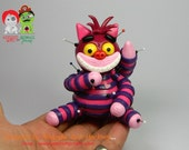 RESERVED for Angela K.  Cheshire Cat Voodoo Doll. Collectable Hand Sculpted Polymer Clay Figurine.
