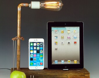 Docking stations and chargers for ANY iPhone/iPad AND table lamp. Reclaimed wood & copper pipe. Edison bulb. USB wall charger.  (764)