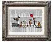 Winnie the Pooh & Friends 1 Piglet Tigger Eeyore on Vintage Upcycled Dictionary Art Print Book Lover Gift Pooh Bear Nursery Print Disney Art