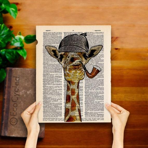 Giraffe Sherlock Holmes on Vintage Upcycled Dictionary Art Print Geeky Print Book Lover Gift Libray Decor Book Art Print Amazing Animalia