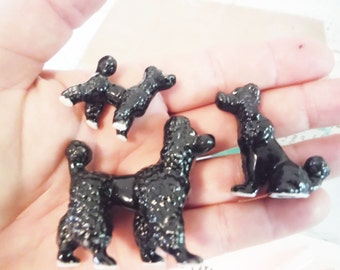 Wee black poodle figurines miniature small black mid century ceramic shabby collectible vintage retro dog