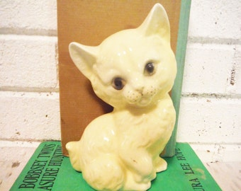 Vintage kitten figurine chiffon yellow large sweet