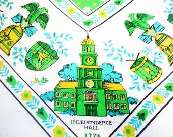"Vintage table cloth americana square 47"" green turquoise yellow liberty bell washington dc decor patriotic"